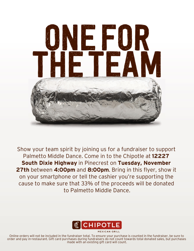 Chipotle Family Night (Support Palmetto Middle Dance) @ Chipotle