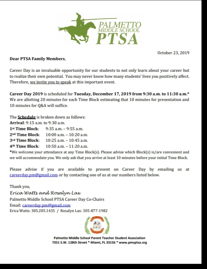 PTSA Career Day Letter
