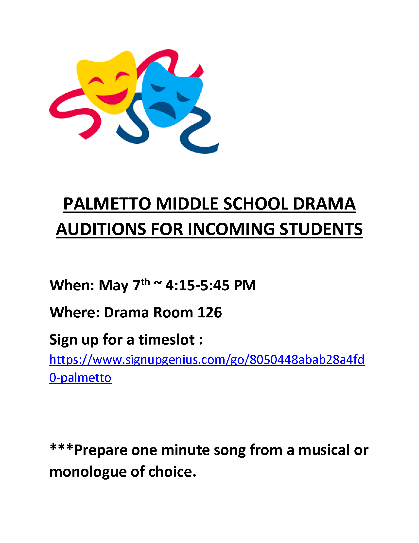 Incoming Student Drama Auditions Flyer